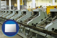 colorado bindery machines in a bookbinding factory