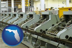 florida bindery machines in a bookbinding factory