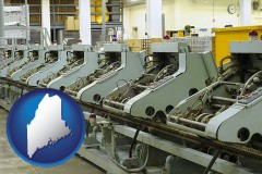 maine bindery machines in a bookbinding factory