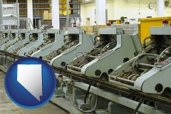 nevada bindery machines in a bookbinding factory