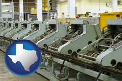 tx bindery machines in a bookbinding factory