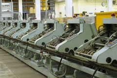 bindery machines in a bookbinding factory